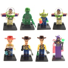 8pcs Toy Story Building Block Small Action Figures Buzz Woody Andy Jasimina Rex Bonnie Assembly Toy Same as SY172