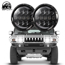 Black 7 Inch 105W Round Daymaker LED Projector Headlight Waterproof Bulb for Harley Davidson Motorcycle & Jeep Wrangler