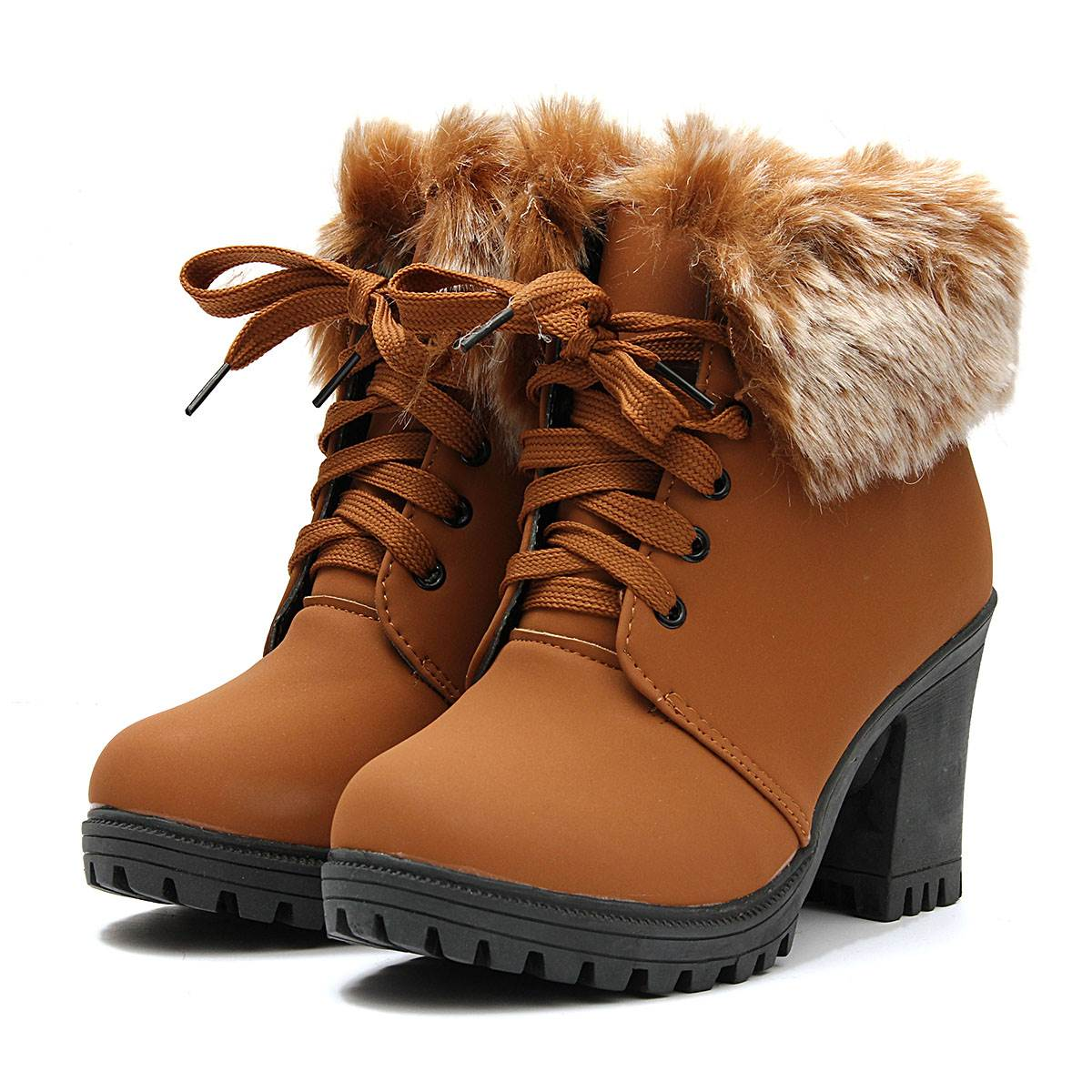 Warm Plush Pumps Booties Fashion Sexy Womens High Heel Ankle Boots Autumn Winter Platform Lace Up Knight Snow Boots Shoes<br><br>Aliexpress