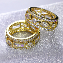 Nice Women Fashion Rings 2PCS Set AAA Cubic Zirconia  Gold-color Romantic Party Jewelry For Lover Brass Metal Lead Free