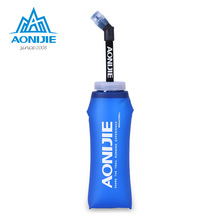 AONIJIE TPU Soft Water Flasks with Long Straw Running Sports Water Bottles Foldable BPA Free 350ml 600ml(China)