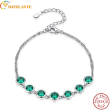 7pcs Created Emerald Bracelet 925 Sterling Silver Bracelets Bangles for Women Fine Jewelry Two Layer 925 Silver Wrap Bracelet(China)