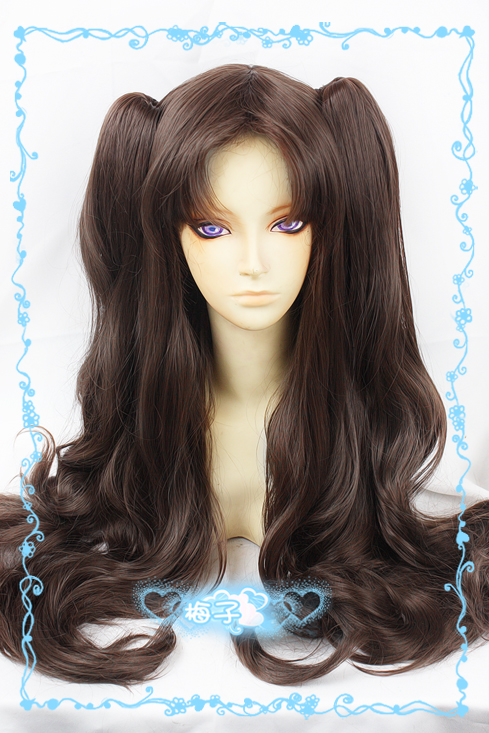 Fate/Stay Night Tohsaka Rin Cosplay Wigs Women Girl Full Lace Long Curly Wavy Hair Brown Ponytail Wigs Without Headwear<br><br>Aliexpress