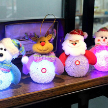 LED Light Santa Claus/Reindeer/Snowman/Bear Colorful Christmas Santa Claus Party Ornaments Xmas Tree Hanging Decoration(China)