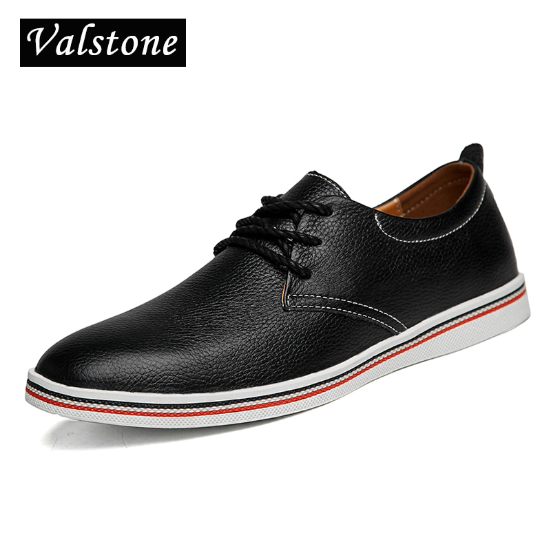 Valstone 2018 NEW Arrival Spring Genuine Cow Leather casual Shoes Men lace-up boat shoes comfortable driving flats daily shoes<br>