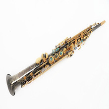 2016 Hot selling FREE SHIPPING EMS 54B flat Soprano Saxophone instrument black nickel gold G key professional grade