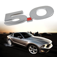 Mayitr 3D Metal 5.0 Emblem Car Body Side Badge Sticker Decal for Ford Mustang Car Exterior Accessories Silver
