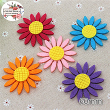 6CM mix color Non-woven patches sunflower Felt Appliques for clothes Sewing Supplies diy craft ornament