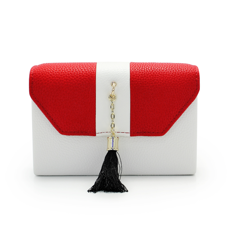Fashion White And Red Women Clutches With Chain Ladies Shoulder Bag Messenger Bag Tassel Female Lovely Wallet(C642)<br>