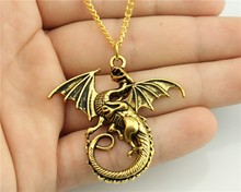WYSIWYG Fashion 2 Colors Antique Gold, Antique Silver Color 43*46mm Dragon Pendant Necklace , 70Cm Chain Long Necklace(China)