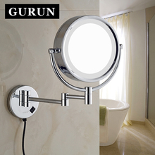 8.5 Inch LED Lighted Wall Mount Makeup Mirrors with 10x Magnification Chrome shaving vanity cosmetic compact mirror with lights(China)