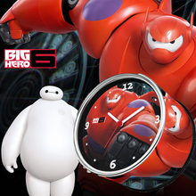 Free Shipping Big Hero 7 Baymax Fans 2pcs/lot Sunfire And Big Hero Six Fridge Magnets Aluminum Wall Clocks,Metal Tin Desk Clocks