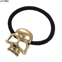 Women Metal Gold Candy Color Skull Elestic Black Head Band Girl Hair Ring Rope Tie Ponytail Holder Hair Accessory Ornament