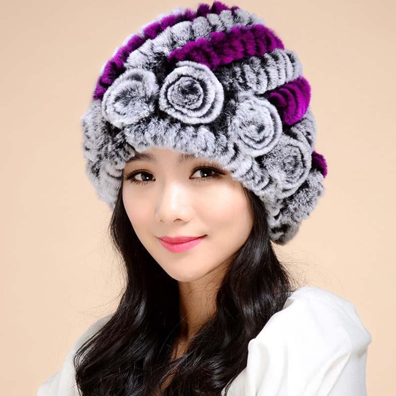 Hot 2016 New 100% Genuine Knitted Rex Rabbit Fur Hat Winter Lady Floral Cap Female Headgear Women Fur Beanies hats free shippingÎäåæäà è àêñåññóàðû<br><br><br>Aliexpress