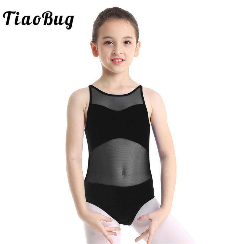 Girls Gymnastics Ballet Dance Dress Leotard Mesh Wasit Athletic Bodysuit Costume
