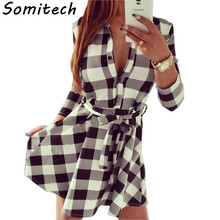 2017 Woman dress Plaid Long Sleeve Dress Leisure Vintage Dresse Women Plaid Check Print Spring Casual Shirt Dress Mini