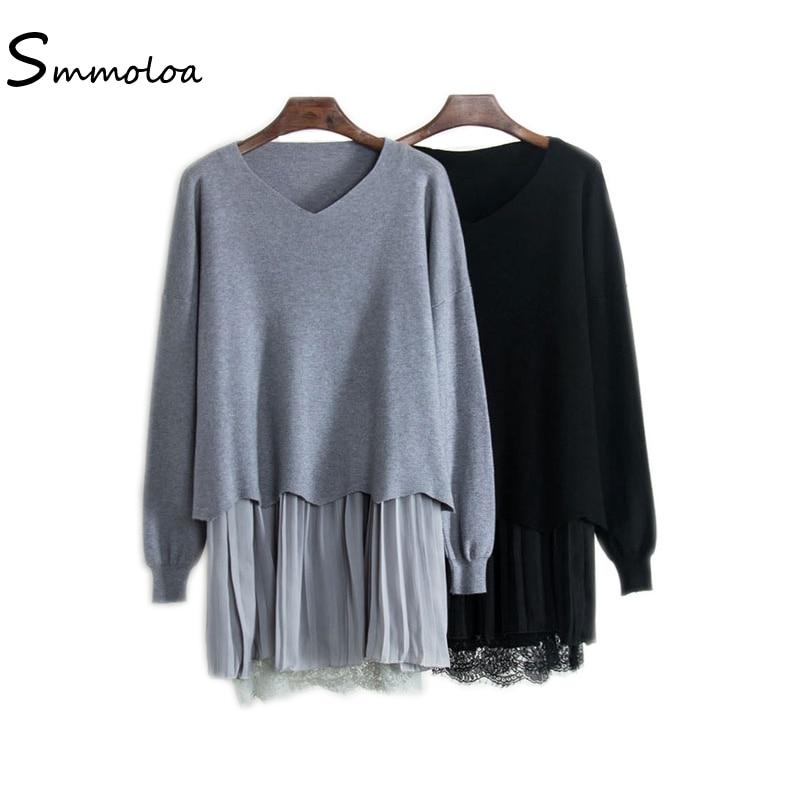 Smmoloa Autumn Women Knitted Sweater Dress Vest Pleated 2 Piece Pullover Loose DressesÎäåæäà è àêñåññóàðû<br><br>