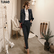 Buy TUHAO 2017 New Winter Autumn Women Clothing Turn Collar Two Piece Office Slim Lady Striped Work Business Female Suit ST14 for $62.63 in AliExpress store
