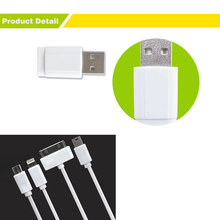 10pcs 4 in 1 Multi charger Cable for iphone 4 4S iPad 2 3 iPod nano touch Micro Mini USB charger cable for Samsung Nokia HTC