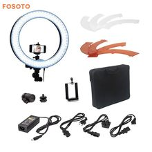 "fosoto 18"" RL-18 Photography Video Studio 240 LED 5500K Dimmable Diital Camera Photo Phone Ring Light Lamp With Plastic Color(China)"
