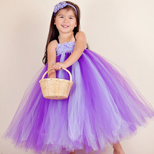 Shabby Flower Girls Dress Purple Lavender Summer Girls Dresses for Birthday Party Baby Floral Tutu Dresses Clothing