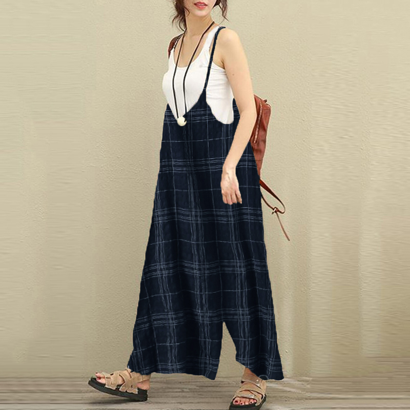 721937e181 Women Casual Plaid Dungarees Trousers Cotton Wide Leg Pants Vacation Retro Jumpsuits  Overalls Sleeveless Loose Long Rompers