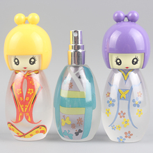 Hot 1Pcs 20ml Glass Perfume Bottle, Cute Doll Drawing Perfume Bottle And Sprayer Can Add Perfume Container Free Shipping 6 Color