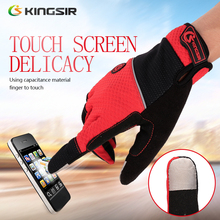 KINGSIR Gloves Air Vents Anti-Slip Wipe Sweat Towel Robust Durable Touch Screen Convenient Velcro Full Finger Cycling Gloves(China)