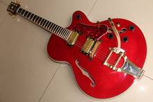 New Arrival Cibson ES-355 Jazz electric guitar with bigsby bridge semi hollow body in red in 120318