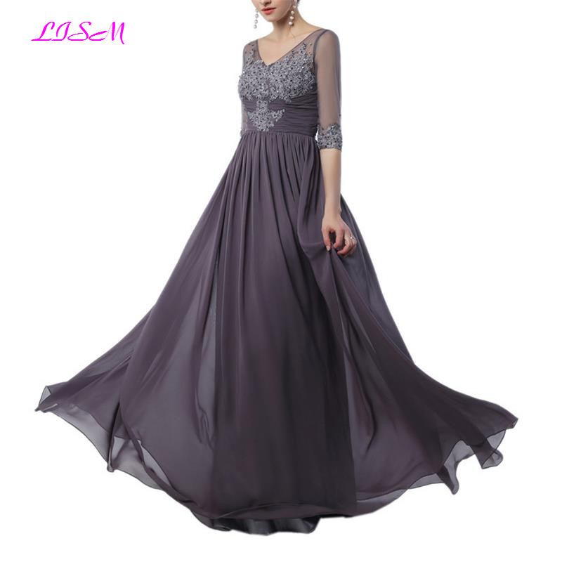 Gray Mother of the Bride Dresses V-Neck Half Sleeves Long Evening Party Gowns Elegant Mother Dress