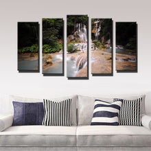 2017 Promotion Paintings 5pcs Dalat Waterfall Falls Vietnam Mountain Wall Painting for Home Decor Art Print Canvas Picture