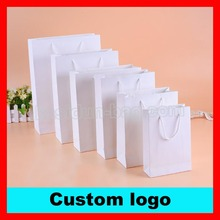 (500PCS/lot) 10 SIZE available custom 250gsm paperboard white paper bag with your brand logo printed
