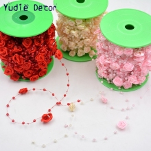 5 M/Bag Fishing Line Pearls DIY Rose Silk Artificial Flower Vine For Wedding Party Home Kids Room Wreath Decoration Rattan Craft