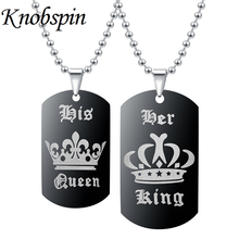 European Hot Sale Crown Necklace Her King His Queen Valentine's Day Gift Fashion Couple Tag Pendant Necklace for Women Men kolye(China)