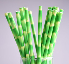 100pcs/lot Bamboo Design Paper Straws Prom  for Birthday Wedding Decorative Party Event Supplies Creative Green Drinking Straws
