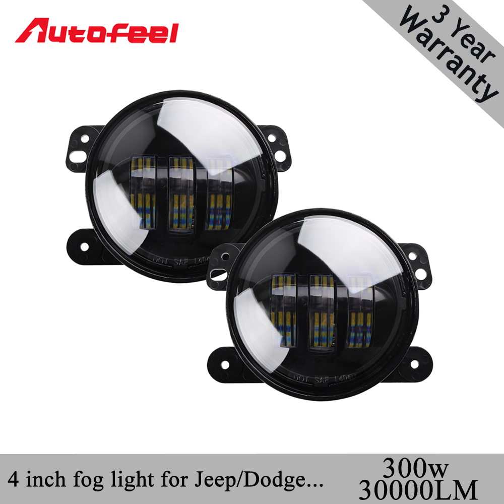 Autofeel 2pcs/Pair 600W led 4 inch White Round fog lights lens Projector 4 Fog Lamp For Offroad Jeep Wrangler Dodge Chrysler<br>