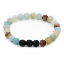 Poshfeel Essential Oil Diffuser Jewelry 8Mm Natural Lava Stone Beaded Bracelet For Women And Men Jewelry Mbr170362(China)
