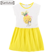 Sanlutoz Cotton Girls Dress Pineapple Children Clothing Summer Toddler Party Brand Princess Fashion 2017 Holiday(China)