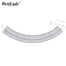 Best lady 2017 New Arrival Luxury Rhinestone Chokers Necklaces Women Hot Cheap Wholesale Statement Necklace Fashion Jewelry 4455(China)