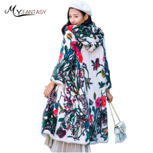 M.Y.FANSTY 2017 Slim Winter Print Flower Mink Full Sleeve Coat With Fur Hood Real Fur Contrast Colorful Women X-Long Mink Coats(China)