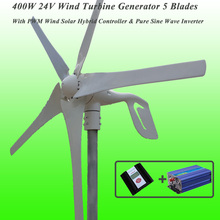 Great Discount 5 Blades 400W 24V Wind Turbine Generator With PWM Wind Solar Hybrid Controller & 1KW Pure Sine Wave Inverter