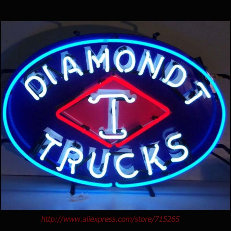 Diamond T Trucks Neon Bulbs Neon Signs Real Glass Tube Art Handcraft Signs Decorated Beer Pub Custom LoGO Fast Shipping 24x17(China)