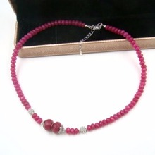 Vintage Classic Laboratory-created Laboratory-created Natural Stone Jewelry Noble Pink Rubies  Beaded Necklace 45cm