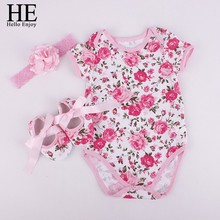HE Hello Enjoy Bodysuit baby girl 2017 Baby girl clothes sets girl clothes outfits (Bodysuits+Accessories + Baby First Walkers)