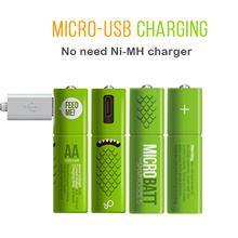 AA Rechargeable Battery Mirco USB Reusable Safe Batteries Low Self-discharge 1.2V 1000mAh AAA Bateria