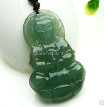 Beautiful Chinese Green Jadeite GuanYin Blessing Lucky green Jade pendant necklace each unique