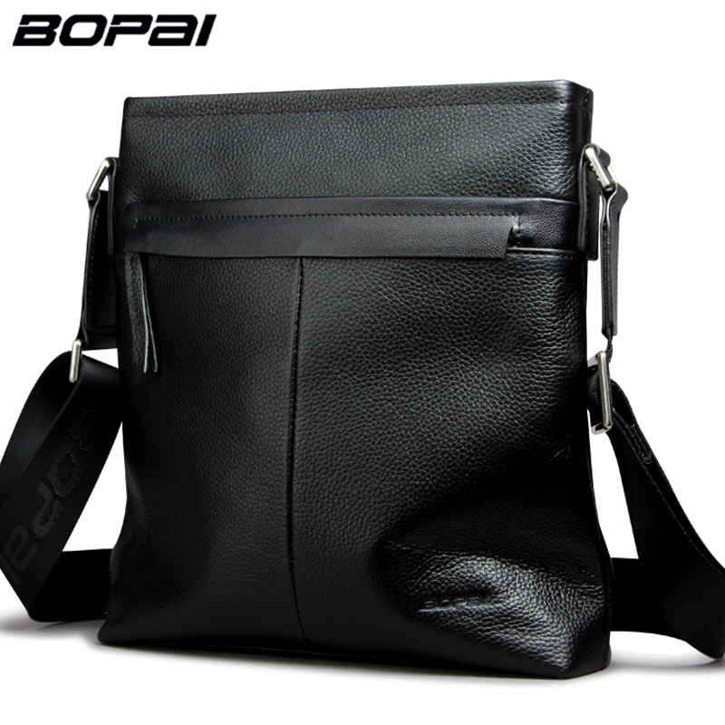 High Quality Genuine Leather Mens Messenger Bag Multifuncational Man Crossbody Bags Black Cow Leather Shoulder Bags for Men<br>