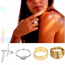 New 12 Styles Women Men Rings Double Bar Open Parallel T Knot Adjustable Minimalist Jewelry Copper Silvery Golden Anelli donna(China)