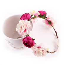 Fashion Crown Flower Headband For Bride Women Wedding Traveling Garland Hairband Wreath Hair Accessories Halo(China)