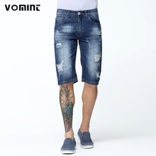 2017 New Summer Men Shorts Casual Distressed Hole Short Jeans Slim Knee Length Stretch Cotton Fabric Dark Wash V7S1S012(China)